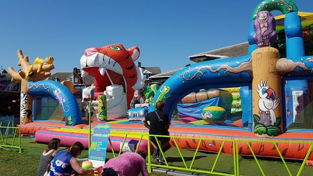 Children played on an inflatable assault course on Felixstowe seafront. Picture: RACHEL EDGE