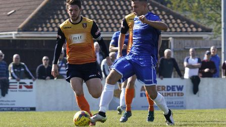 Lowestoft's Jake Reed, right, in good form for the Trawlerboys at Leiston Photo: SHIRLEY WHITLOW