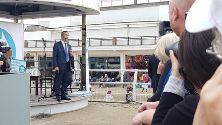 The Brexit Party's Nigel Farage has spoken to supporters at Clacton seafront Picture: RACHEL EDGE
