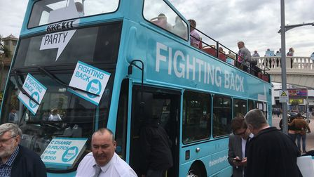 Crowds are waiting for Nigel Farage to arrive in Clacton Picture: PAUL GEATER