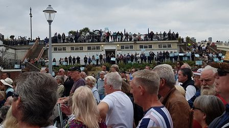 Hundreds of people have turned out to see Nigel Farage Picture: RACHEL EDGE