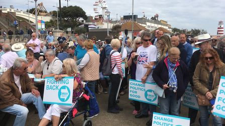 Clacton seafront is getting busier as crowds wait for Nigel Farage to arrive Picture: PAUL GEATER