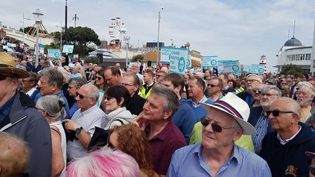 Hundreds of people are at Clacton seafront for the rally Picture: RACHEL EDGE