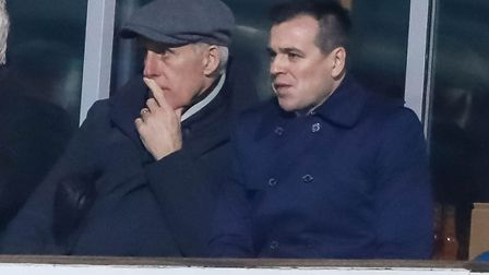 Former Town manager Mick McCarthy and Lee O'Neill watch the Ipswich Town v Derby County game. Pic