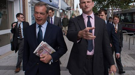 Nigel Farage campaigned with Doughas Carswell in 2014 - but the two men later fell out. Picture: Ste