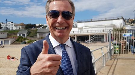 Nigel Farage at the Brexit Party rally in Clacton. Picture: RACHEL EDGE