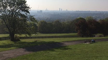 The view from Alexandra Park looking towards central London in bright sunshine before the start of l
