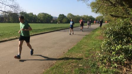 Runners approaching the finish to last Saturday's Ally Pally parkrun, along the main avenue in Alexa