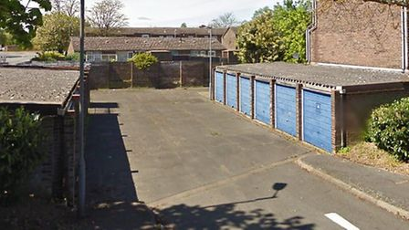 The garages in Downing Close, Mildenhall, could be demolished as part of a new homes plan Picture: G