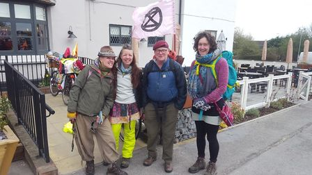 Members from the Bury St Edmunds branch of Extinction Rebellion in Epping en route to the protests i