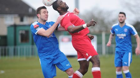 Leiston's Joe Jefford, left, makes his final league appearance for the Blues at Redditch this weeken