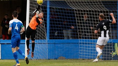 Bury keeper Luis Tibbles made some fine saves against Heybridge. Picture: PAUL VOLLER