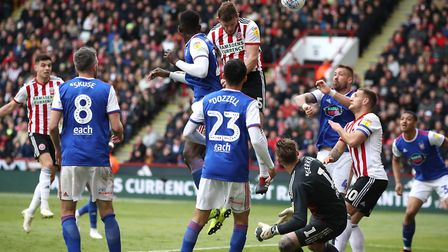 Jack O'Connell heads Sheffield United 2-0 in front against Ipswich Town. Photo: PA
