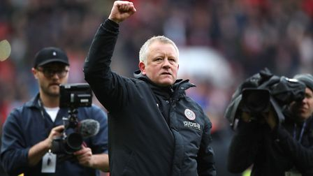 Sheffield United manager Chris Wilder celebrates after the final whistle during the Sky Bet Champion