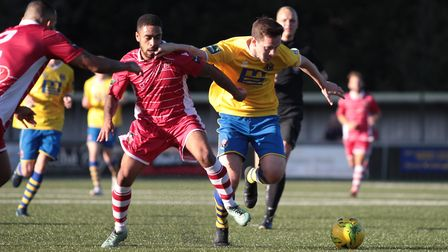 Darryl Coakley, right, scored the winner for Sudbury at Coggeshall. Photo: CLIVE PEARSON