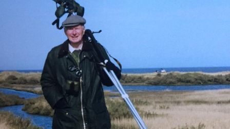 John, birdwatching on Cley bird reserve in Norfolk. Birding and natural history were two of his pass