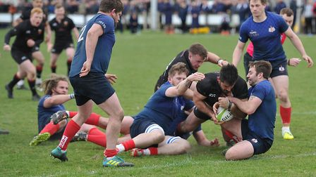 Olly Pickett is held up as he tries to ground what would have been Colchester's equalising try. Pict