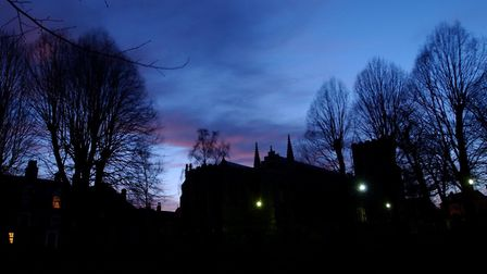 St Mary's Church in Bury St Edmunds at twilight. Alleged home of the Grey Lady ghost. In the 1970s