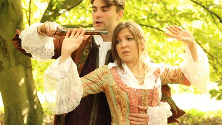 Quinn Richards (Thomas Easter) and Hayley Evenet (Lady Elizabeth Temperance Fox) in the touring play