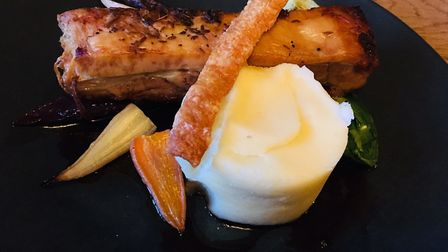 Pork belly with mash and heritage carrots