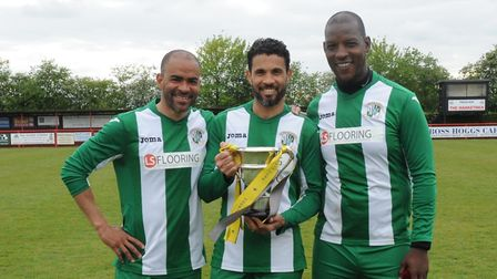 Former Ipswich Town stars, left to right, Kieron Dyer, Carlos Edwards and Titus Bramble with the Suf