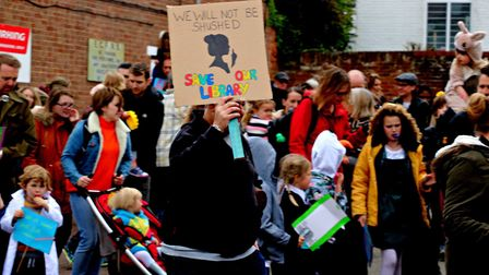 Children took part in a march against the proposed library closure in Manningtree Picture: DEBBIE B