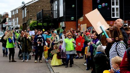 Children took part in a march against the proposed library closure in Manningtree Picture: DEBBIE