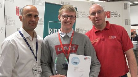 Student William Frost-Smith with lecturer Brian Tunbridge (right) and Brian Day, Ridgeons branch man