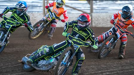 Cameron Heeps (red helmet) and Jake Allen (blue) lead Zach Wajtknecht (white) and James Shanes in he