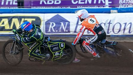 Cameron Heeps gets the better of Tobiasz Musielak in the second rerun of heat three. Picture: Ste