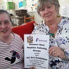 Mayor of Needham Market Dawn Spurling supporting our Art Exhibition with Liza Wilkes Picture: AVENUE