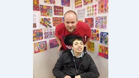 Matt Foulger with a Avenues East service user, with Kandinsky's concentric circles Picture: AVENUES