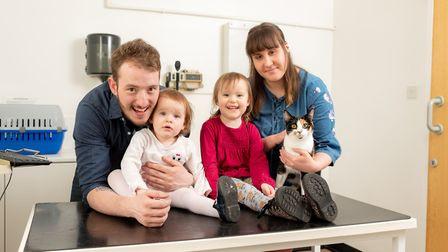 The Fox family with Pixel � dad Dean, mum Blossom, Felicity (3) and Bonnie (1) Picture: EASTGATE VET