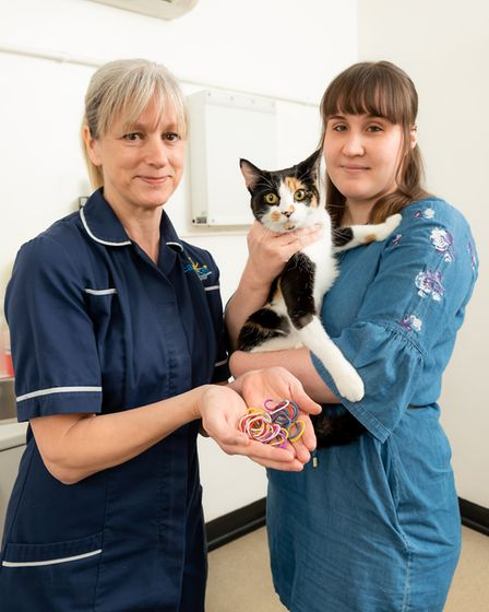 Eastgate Veterinary Nurse Tina Plumley with Pixel and owner Blossom Fox Picture: EASTGATE VETERINARY