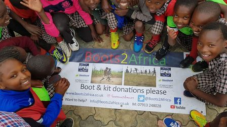 The charity send the boots they collect to communities across Africa, keeping children's feet safe w