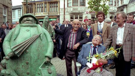 September 1993 A statue celebrating the life and work of cartoonist Carl Giles (seated) was unveiled