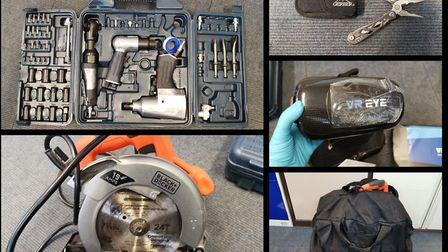 The power tools were found inside a stolen vehicle, which was seized by police in the Lakenheath are