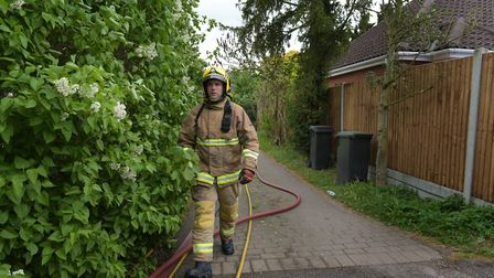 Fire crews attend the scene of a house fire in Beech Terrace, Stowmarket Picture: SARAH LUCY BROWN