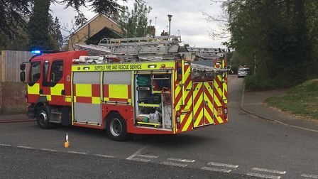 Firefighters are at the scene of a blaze in Beech Terrace Picture: SUZANNE DAY