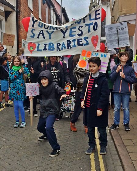 Hundreds of people turned out for a protest against the closure of libraries in Essex this weekend P