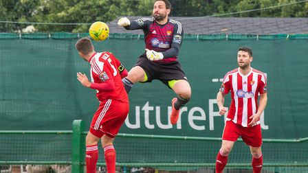 Seasiders goalkeeping coach Gary Hammond made an appearance between the sticks against Romford. Pict