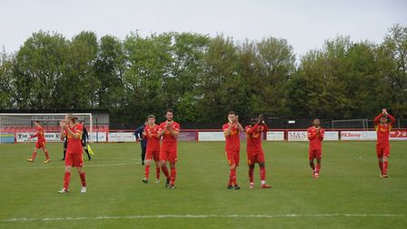 Needham Market players applaud their fans after beating Alvechurch. Picture: BEN POOLEY