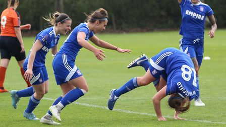 Paige Wakefield celebrates her spectacular goal Picture: ROSS HALLS