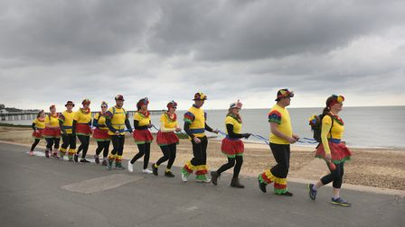 Members of the Ipswich Outdoor Group attempting to set a new world record by conga dancing more than