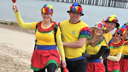The Ipswich Outdoor Group brightened up Felixstowe prom as they attempted an eight mile conga to try