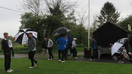 WET AND WINDY: The scene at Newton Green before the start of the Hambro Cup tie against Felixstowe F