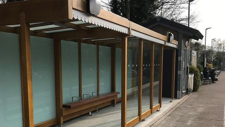 A new wooden waiting shelter has been installed at Sudbury station Picture: GREATER ANGLIA