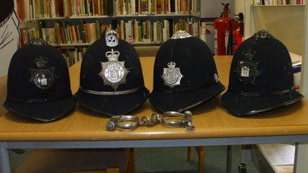 Carl Giles was a stickler for detail - hence the collection of police helmets, which allowed him to