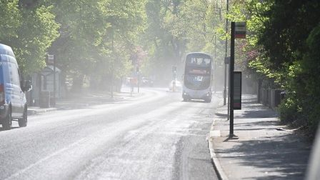 Essex Highways say drivers should obey the speed limit to reduce the amount of dust on Lexden Road.
