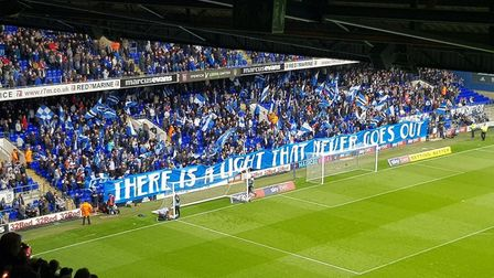 Ipswich Town supporters group Blue Action put on an impressive display ahead of the Blues' match aga